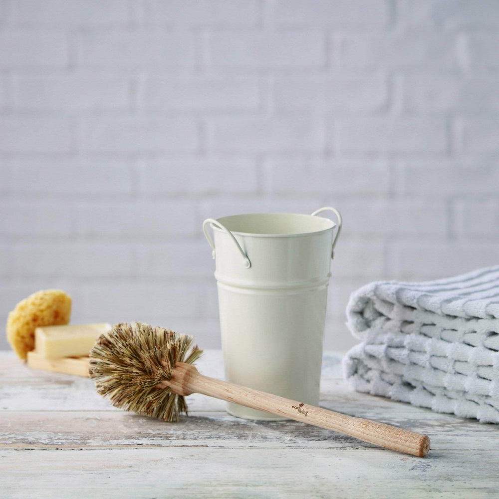 ecoLiving Brushes Plastic Free Toilet Brush & Holder Set - Cream