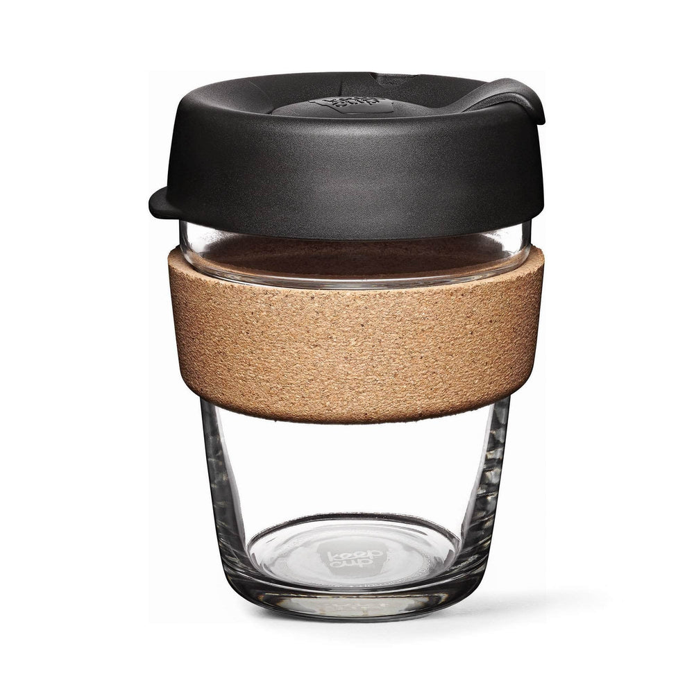Keepcup Brew Cork Coffee Cups Keepcup Brew 12oz Glass Coffee Cup With Cork Band - Espresso