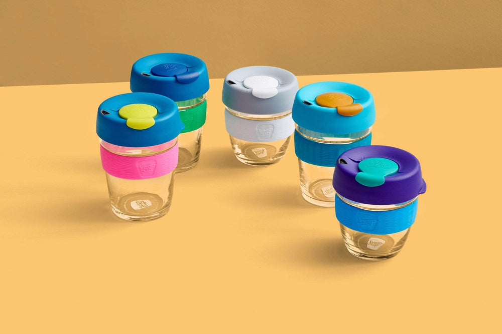 Keepcup Brew Silicone Coffee Cups Keepcup Brew 12oz Glass Coffee Cup With Silicone Band - Milk