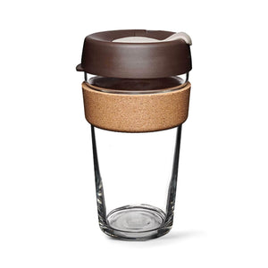 Keepcup Brew Cork Coffee Cups Keepcup Brew 16oz Glass Coffee Cup With Cork Band - Almond