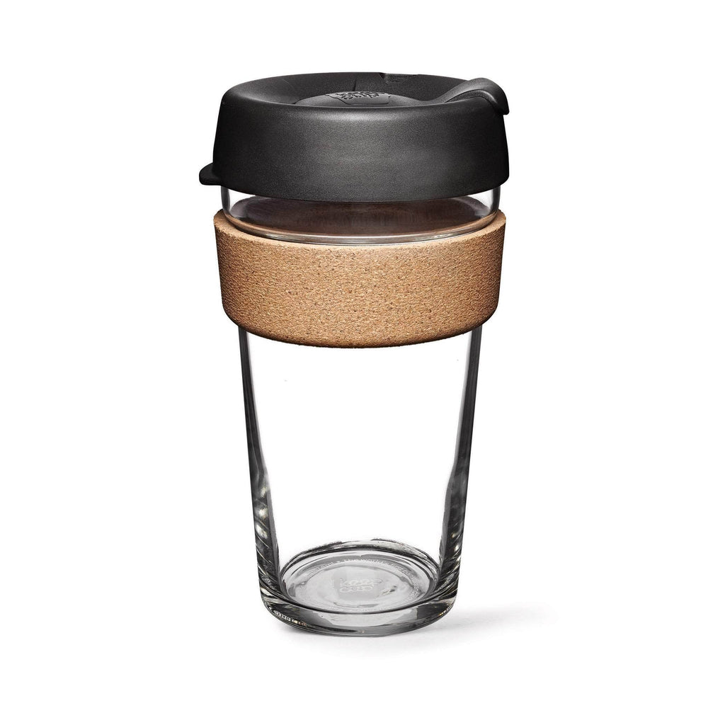 Keepcup Brew Cork Coffee Cups Keepcup Brew 16oz Glass Coffee Cup With Cork Band - Espresso