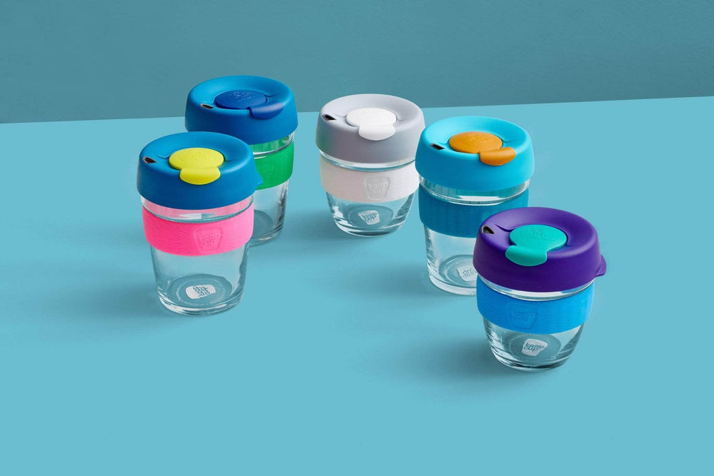Keepcup Brew Silicone Coffee Cups Keepcup Brew 8oz Glass Coffee Cup With Silicone Band - Milk
