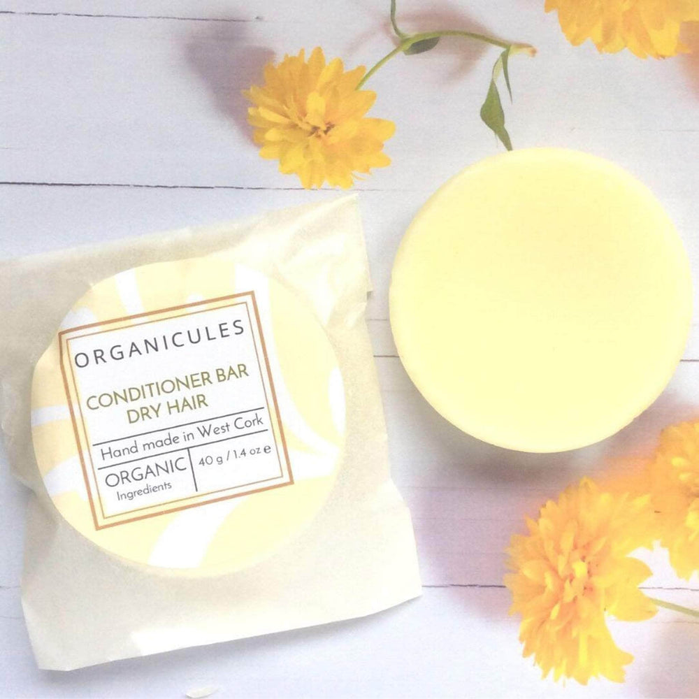 Organicules Conditioner Bar in Compostable Bag - For Dry Hair - Sweet Orange, Bergamot & Patchouli