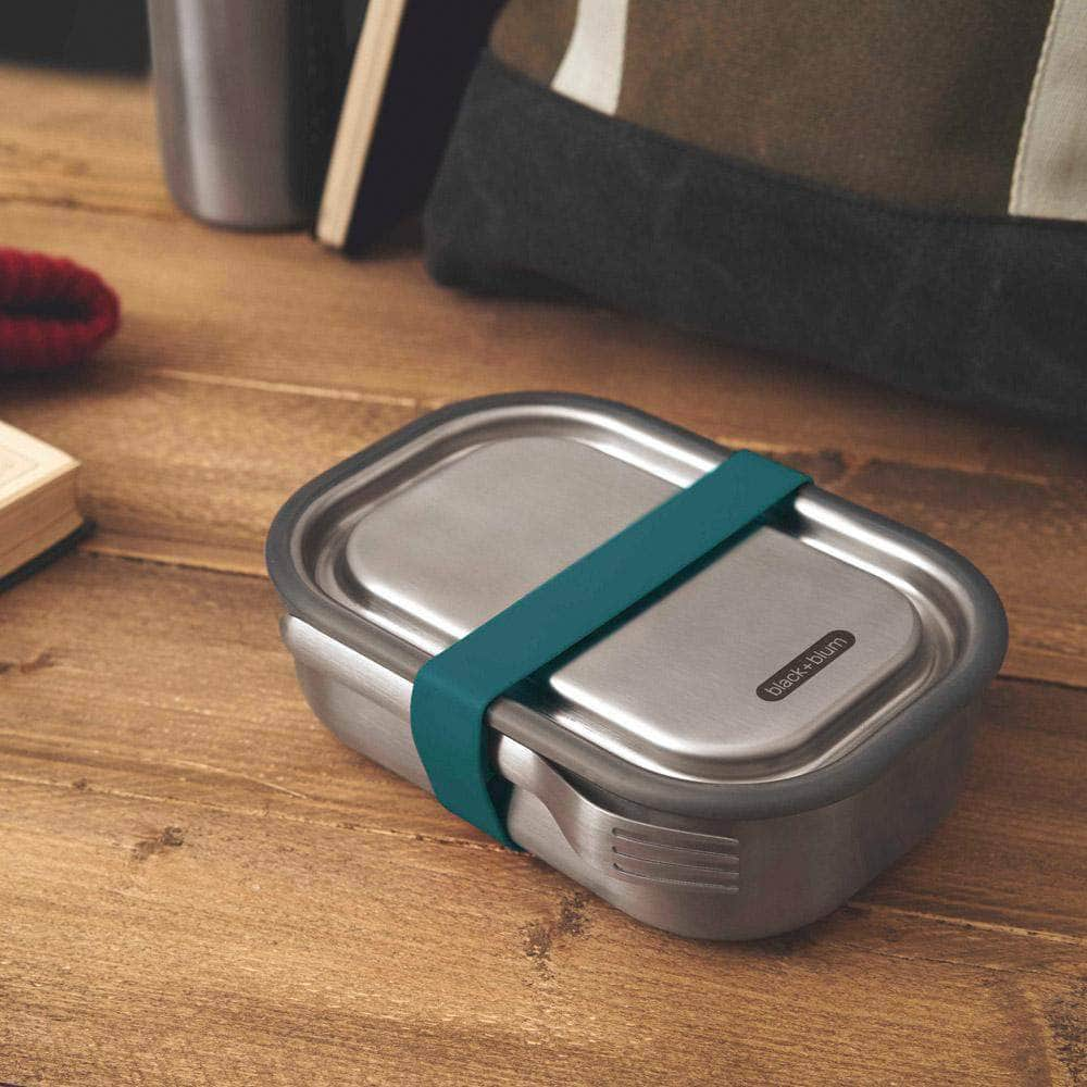 black + blum Food Containers black + blum Stainless Steel Lunch Box - Leak Proof 3-in-1 - Ocean