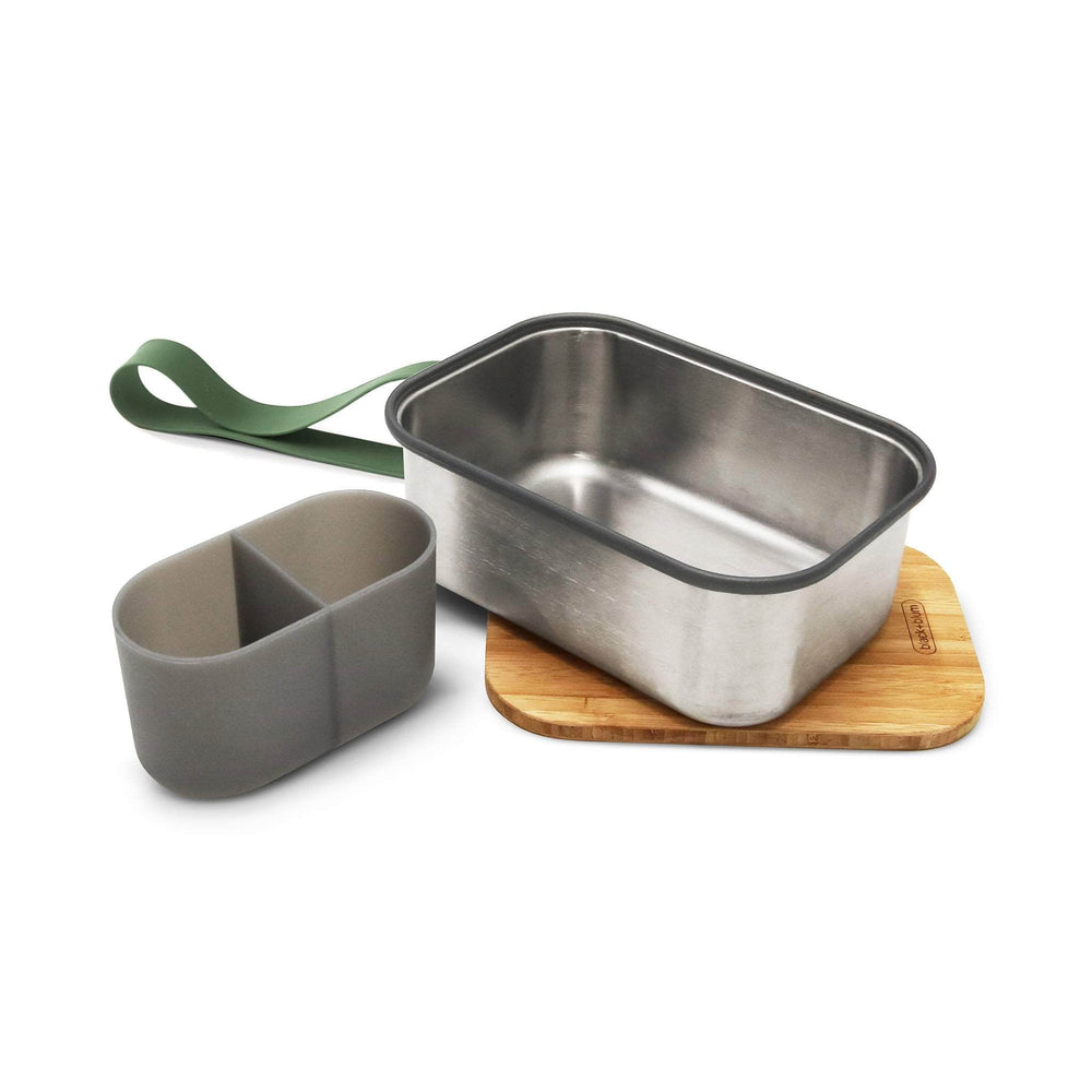 black + blum Food Containers black + blum Stainless Steel Sandwich Box Large & Bamboo Lid - Olive