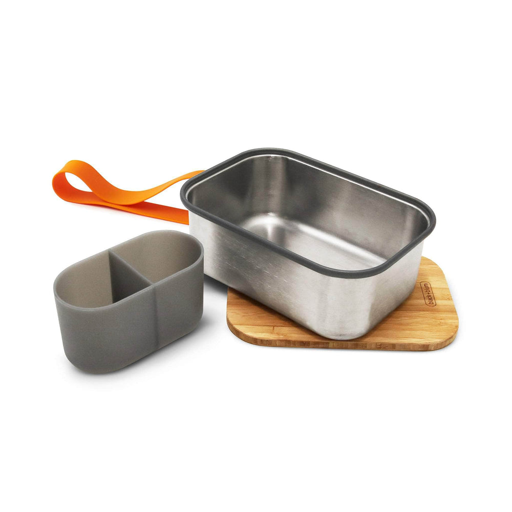black + blum Food Containers black + blum Stainless Steel Sandwich Box Large & Bamboo Lid - Orange
