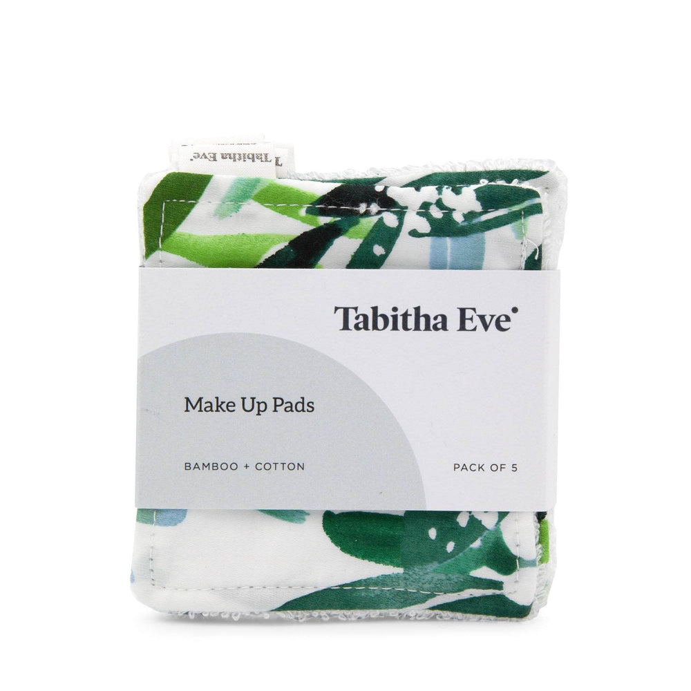 Tabitha Eve Make Up Green Leaves Tabitha Eve - Reusable Bamboo & Cotton Make Up Pads - Set of 5