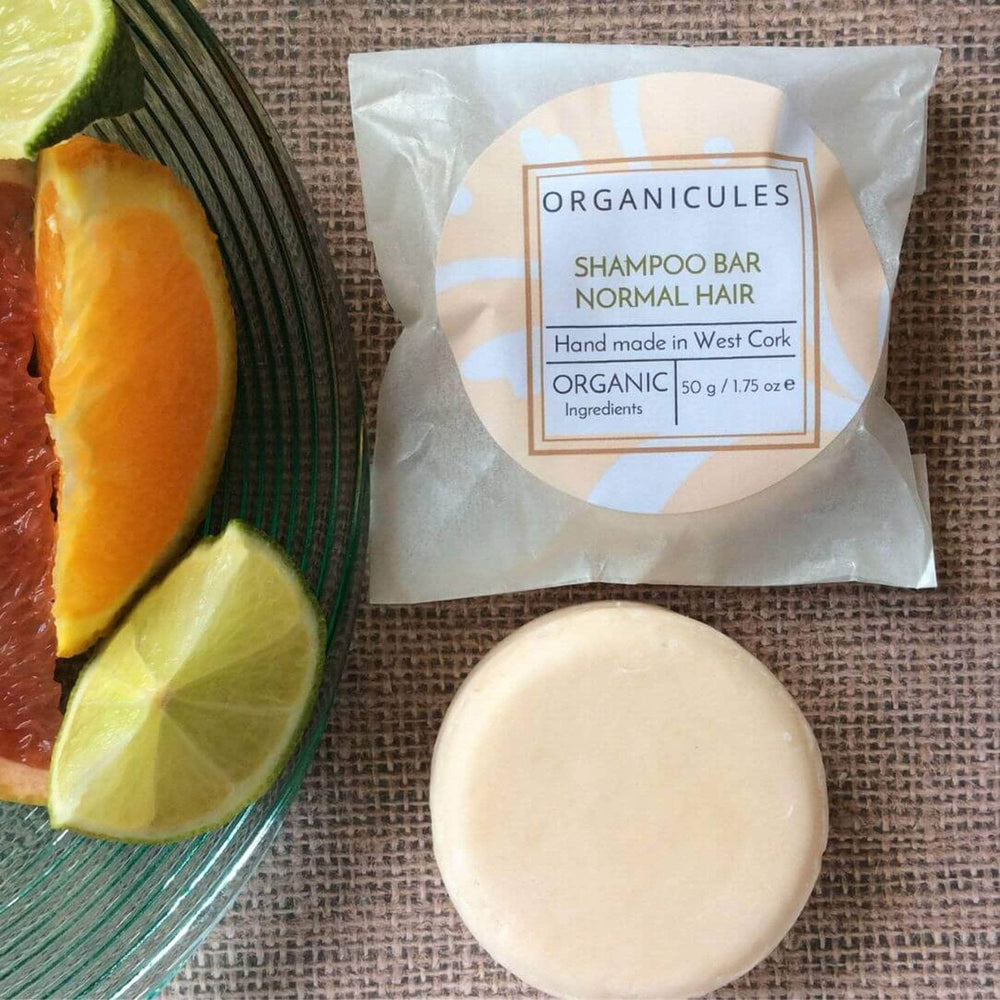 Organicules Shampoo Bar in Compostable Bag - For Normal Hair - Mandarin, Patchouli, Sweet Orange And Bergamot.