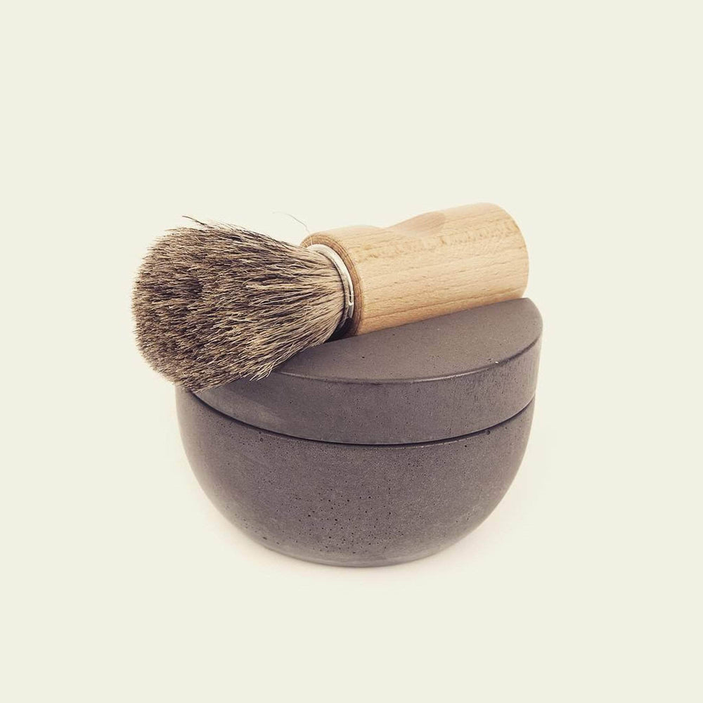 Load image into Gallery viewer, Iris Hantverk Shaving Accessories Iris Hantverk Shaving Cup In Grey Soft Concrete With Cedarwood Soap
