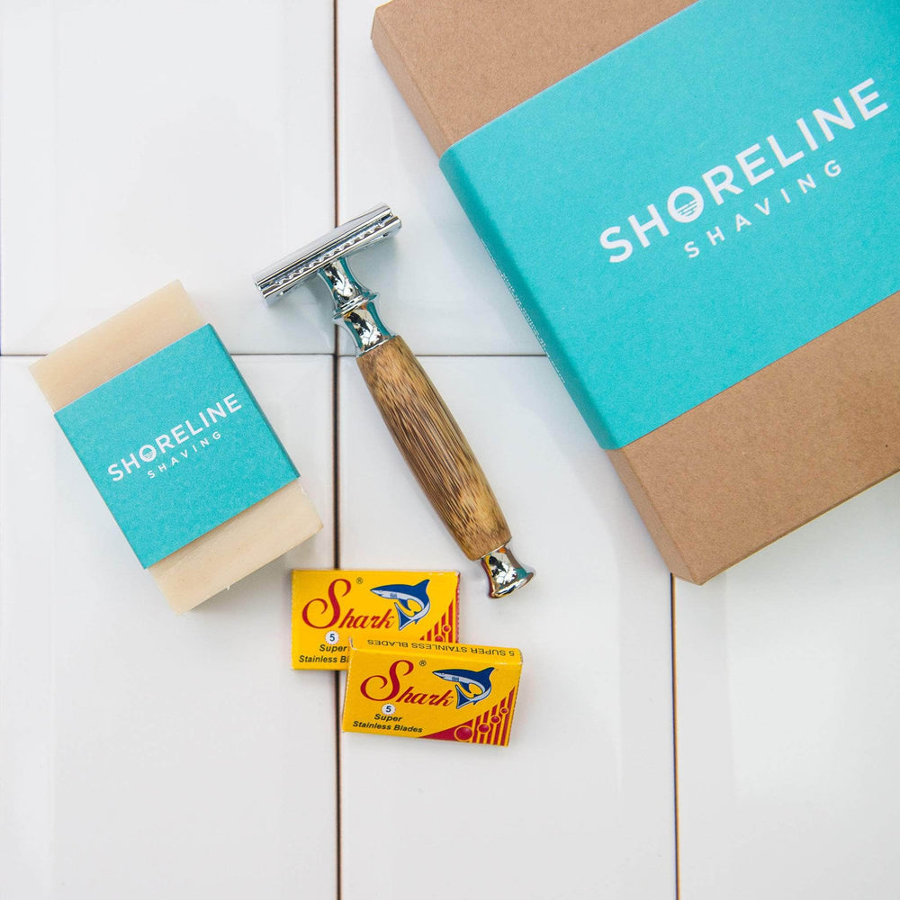 Load image into Gallery viewer, Shoreline Shaving Shaving Accessories Shoreline Shaving - Chrome Silver Bamboo Razor - Shaving Gift Box