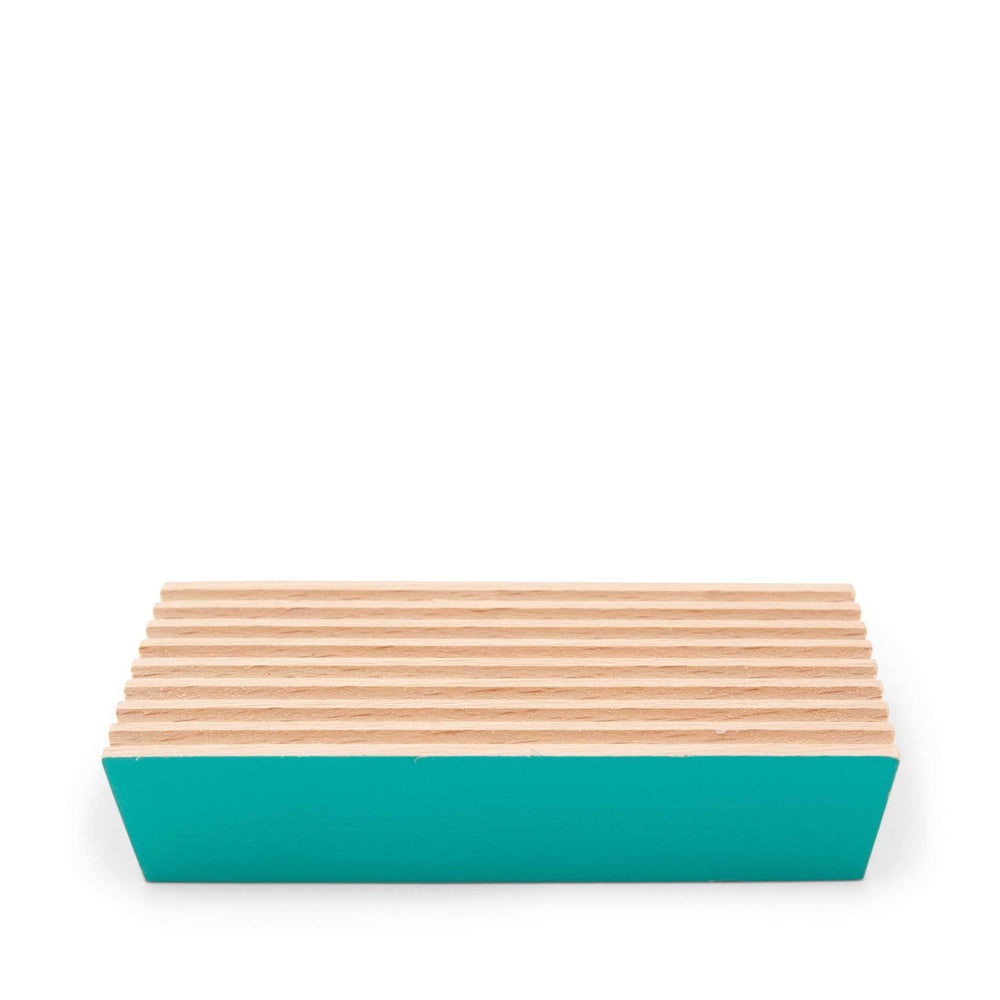ecoLiving Beech Wood Soap Dish - Turquoise