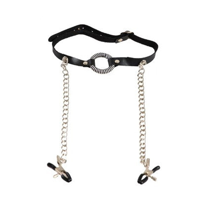 O-Ring Ball Gag with attached Nipple Clamps