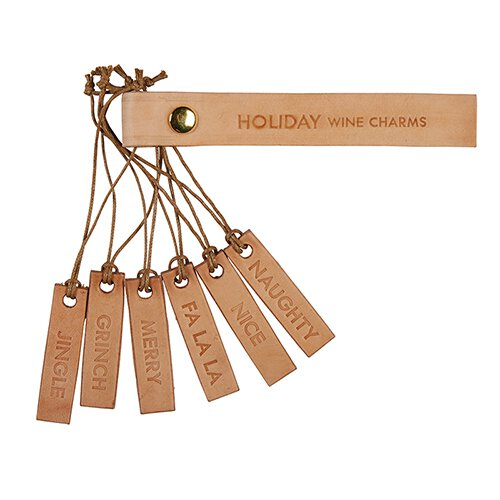 Holiday Leather Wine Charms