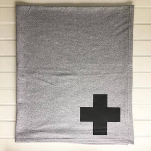Grey - Swiss Cross Sweatshirt Blanket