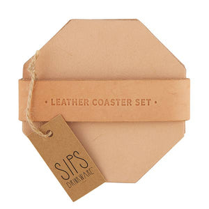 Tan Leather Coaster Set