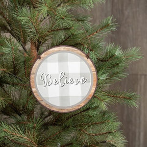 'Believe' Checked Ornament