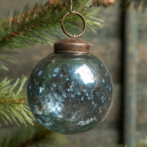 Blue Kugel Ornament - 2""