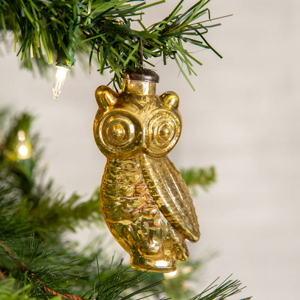 Gold Owl Glass Ornament