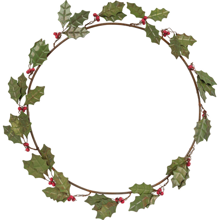 Holly Leaves - Metal Wreath