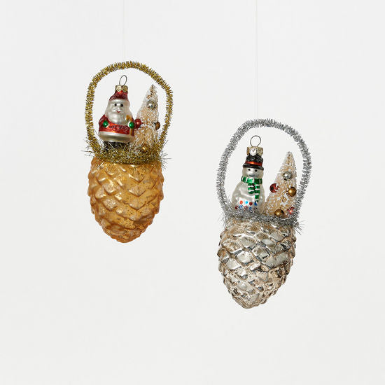 Tinsel Pinecone Scene Ornament