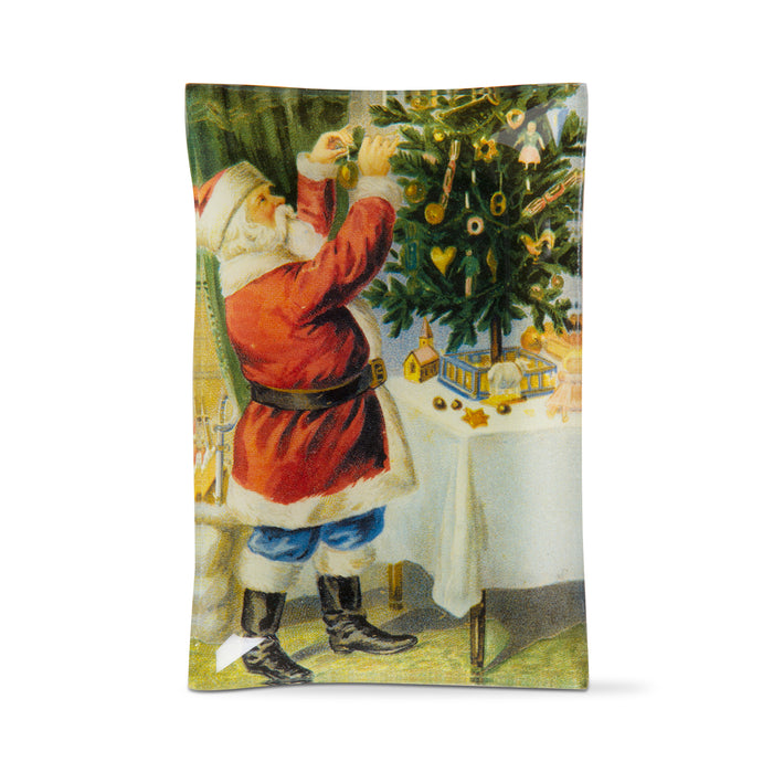 Vintage Santa and Tree Glass Plate
