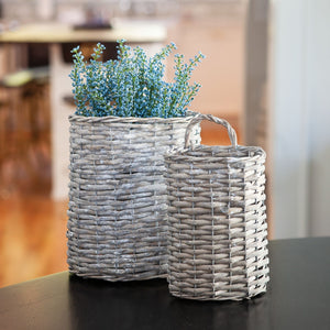 Grey Willow Oval Baskets - Set of 2