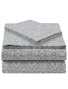 Cotton Rich 4 Pc Sheet Set- Grey Fret - Coral Global Dots By Pieridae - Sleepworld International USA