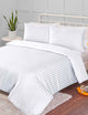 500 TC Damask Stripe Duvet Cover Set - White - 3 Piece By Enviohome - Sleepworld International USA