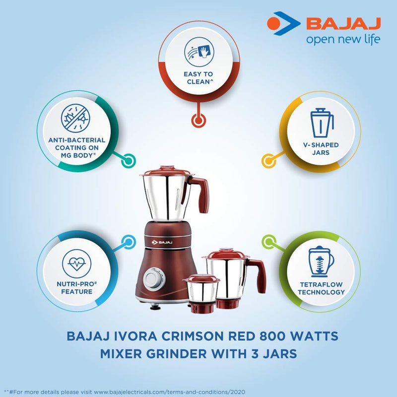 Bajaj Ivora Crimson Red 800 Watts, 3 Jar Mixer Grinder