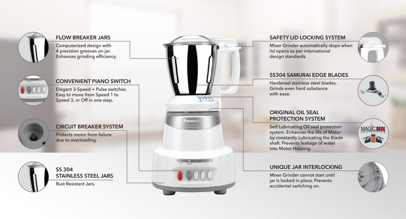 Panasonic 600 Watts 3 Jars Mixer Grinder (Child Lock, MX-AV325, Marble Silver)