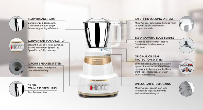 Panasonic mx AV 325 MARBLE GOLD 600 Juicer Mixer Grinder (Gold, 3 Jars)