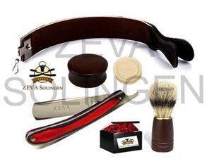 6 Pc wood handle cut throat straight razor shaving set - Zeepk Beauty & Barber Supply