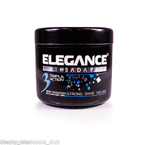 Elegance Triple Action Styling Hair Gel 500ml Blue Extra Strong