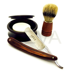 4 PC ZEVA Wood Handle Straight Razor Shaving Set - Zeepk Beauty & Barber Supply