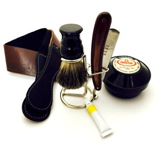 ZEVA HAND MADE BUFFALO HORN & CAMEL BONE HANDLE STRAIGHT RAZOR SHAVING GIFT SET