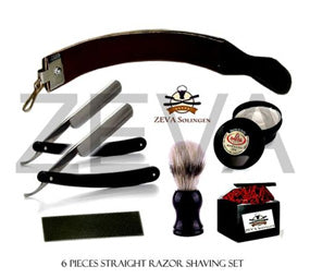 VINTAGE 5 PCS CUT THROAT WOOD STRAIGHT RAZOR MEN'S SHAVING GIFT SET/KIT