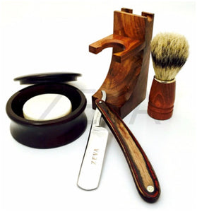 ZEVA 5 PC CUT THROAT STRAIGHT RAZOR SHAVING SET- STAND,BRUSH,CUP, SOAP F4