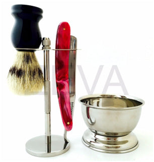ZEVA 5 PC CUT THROAT STRAIGHT RAZOR SHAVING SET- STAND,BRUSH,CUP, SOAP F2