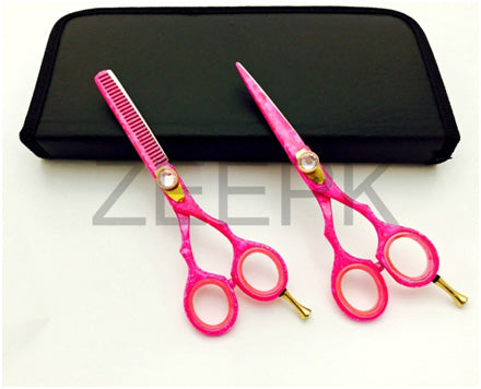 "Pro 5.5"" Salon Hair Styling & Thinning Scissors Shears Set Hot Pink"