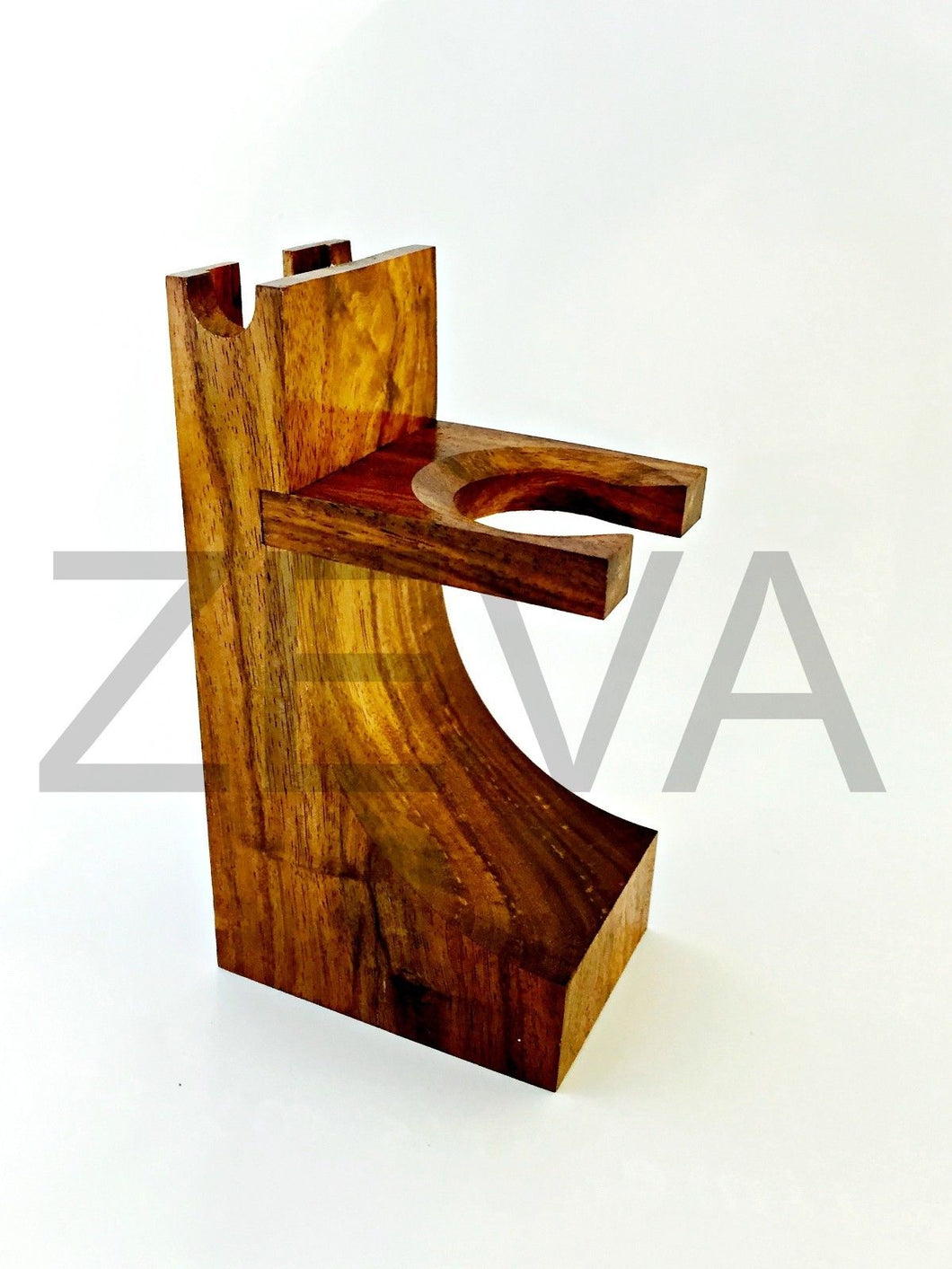 New Mission Style Wood Safety Straight Razor & Brush Stand Walnut Finish