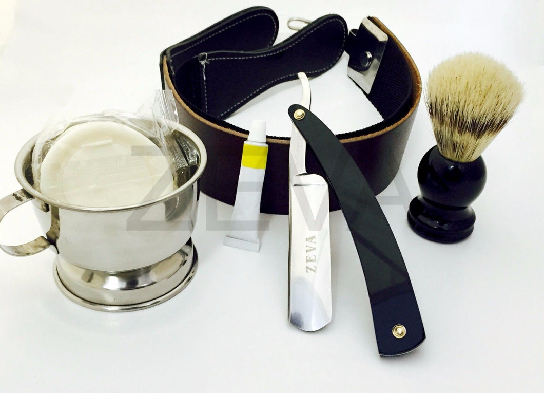 6 Pieces Cut Throat Men's Straight Edge Razor Dovo Paste Shaving Set/Kit - Zeepk Beauty & Barber Supply