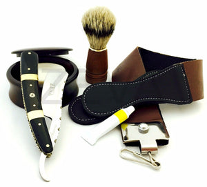 ZEVA SOLINGEN BUFFALO HORN LUXURY CUT THROAT STRAIGHT RAZOR SHAVING GIFT SET, DOVO PASTE