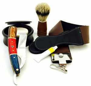 ZEVA SOLINGEN BEAUTIFUL WOODEN CUT THROAT STRAIGHT RAZOR SHAVING SET, DOVO PASTE