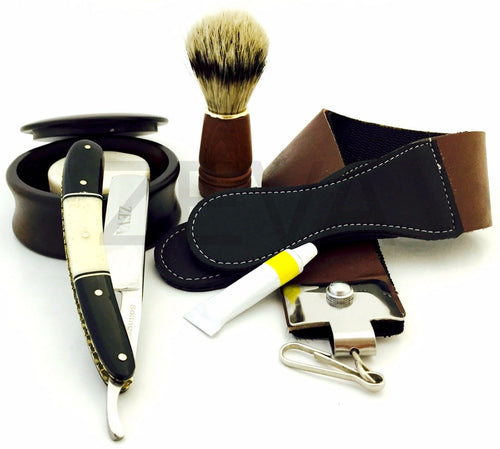 ZEVA SOLINGEN BUFFALO HORN & CAMEL BONE CUT THROAT STRAIGHT RAZOR SHAVING SET, DOVO PASTE