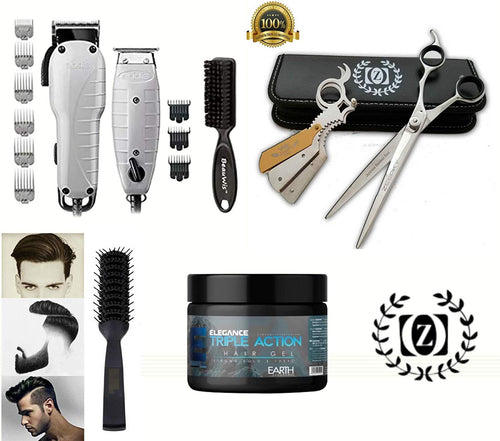 Liberty Supply Andis Barber Combo Hair Cutting Starter Kit Clippers Trimmer Elegance Hair Gel Brush - Liberty Beauty Supply