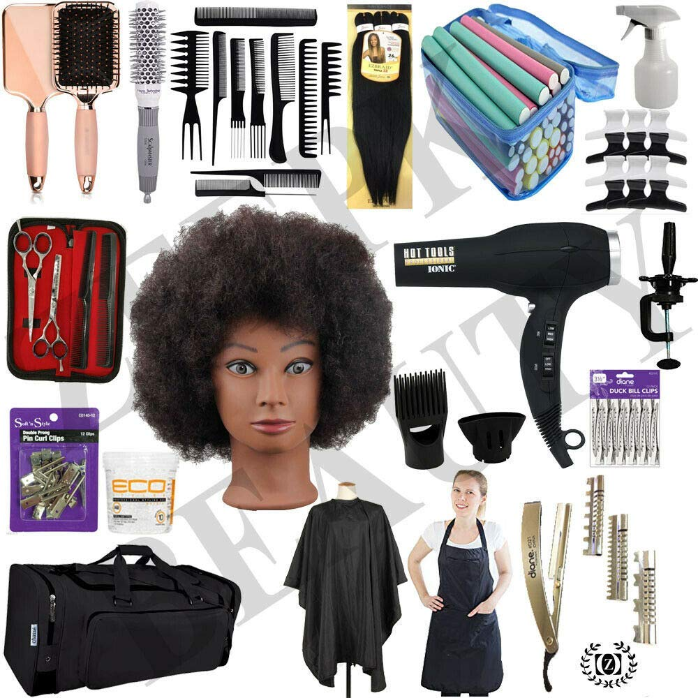 Natural Hair Care & BRAIDING Cosmetology Student KIT Braiding Hair Set Afro Manikin Head Mannequin - Liberty Beauty Supply
