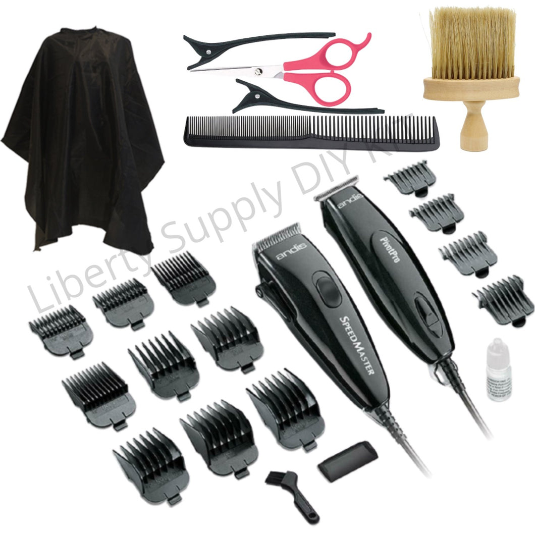 Andis Clippers Combo DIY Home Haircutting Kit For Husband Wife Pivot Motor Clipper and Trimmer