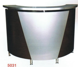 "Pibbs 5031 Reception Desk Curved 60'x42"" Black with Silver Accent"