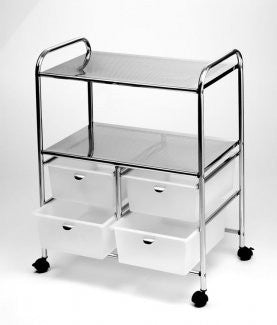 Pibbs D4W 4 White drawer and 2 shelf work cart
