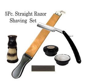 5 Pc Straight Razor Shaving Set / Kit - Zeepk Beauty & Barber Supply
